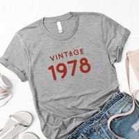 T-shirt das mulheres vintage1978 presente de festa de aniversário 43rd tshirt gráfico de algodão mulheres manga curta mais tamanho o pescoço roupas femininas