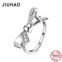 Cluster Rings Bow-knot Stackable Finger Ring For Women Genuine 925 Sterling Silver High Quality Wedding Statement Jewelry
