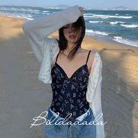 여성 Luxurys 디자이너 수영복 Bilidadada 작은 향기 수영복 여성의 원피스 섹시한 커버 배꼽 쇼 얇은 그물 레드 온천 비키니