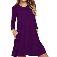 Casual Dresses Vestidos Mujer Longo Limited Plus Size 2021 Ukraine De Festa Real Dress Spring Solid Large Swing Pocket