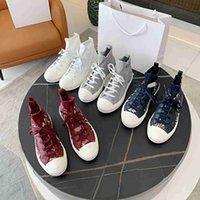 Sapatilhas de designer oblíquo Sapatos de lona de alta show Speaker Stretch Meias Couro Mulheres Casual Qualidade Top Luxurys Treinadores Tamanho 35-41