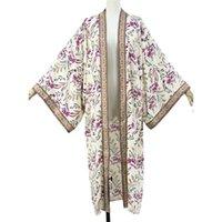 Kadın Boho Çiçek Baskı Uzun Kimono Hırka Açık Ön Gevşek Mayo Kapak 54de Kadınlar