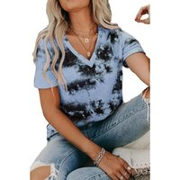 Summer Female T-Shirt Printed V-Neck Short Sleeve Cotton Top Ladies Tie Dye Casual Loose T-Shirts For Women 2021 Fashion Women's