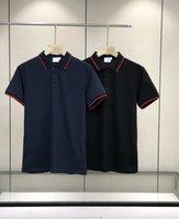 21SS Europe Männer Polos Klassische Arbeit Übergroße T-shirts Importiert Full 320 g Baumwolle Terry Schwarze Atmosphäre Weiche empfindliche Revers Gewinde Manschetten High-End-Tops für Mann