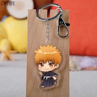 50pcs lot Anime Bleach Keychain Double Sided Acrylic Keyring Pendant Cosplay Accessories Cartoon Key Chain Jewelry Wholesale H0915