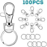 Kimter Swivel Clasps Lanyard Snap Hook con anillos clave Ganchos Clips Langosta Cierre de garra para llaveros Joyas Joyas DIY Crafts Free DHL Q389FZ