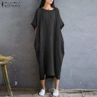 Robe d'été Femmes élégant Solide Maxi Vestidos Zanzea Casual O Cou Cou Suisse Short Sundress Femelle Kaftan Robe Plus Taille 5XL Robes