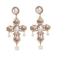 Baroque Bohemain Statement Earrings For Women Simulated Pearl Drop Cross Earrings Jewelry Wholesale