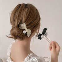 Hair Accessories Women Elegant Chiffon Bow Pearl Sticks Sweet Bun Holder Clips Maruko Hairpins Headband Fashion