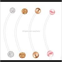 جرس انخفاض التسليم 2021 الحمل السرة الدائري مرنة زر البيوتالاس طويل حلقات البطن الجسم ثقب المجوهرات مزيج 4 أنماط 80 قطع pcdu7