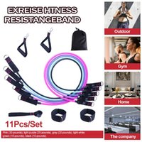 Resistance Bands 11pcs Tension Set Latex Pedal Tensioner Elastic Expander With Door Anchor Handles Ankle Straps And Bag