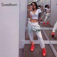 Beschädigtes weißes flammendes Feuer gedruckt Streetwear-Hosen Frauen koreanische Art elastische hohe Taille Sweatpants Baggy Hosen Sommer Herbst1
