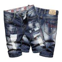2021 erkek pantolon nostaljik mavi capris moda marka deliği gerçek kot şort erkekler