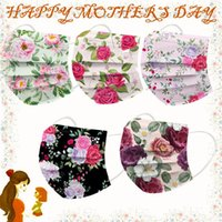 Happy mothers Day Disposable Face Mask Flower Design Adult 3 Ply 95% Filtration Efficiency Dustproof Fashion Mouth Mask