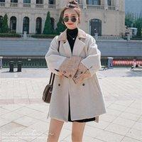 Kadın Yün Karışımları Dikiş Yünlü Bej Ceket Kore Versiyonu 2021 Sonbahar Kış Rahat Nazik Tüm Maç Bayan Femme