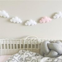 Nordic feltro nuvem guirlanda string bebê quarto infantil decoração decoração parede pendurado ornamentos jardim de infância festa festa banner foto adereços