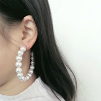 Hoop & Huggie Exaggrated Simulated Pearls Big Circle Statement Earrings For Women Vintage Loop With Pearl Jewelry Gift
