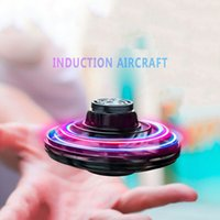 Flynova FlyNova UFO Fidget Spinner Toy Kids Portable Flying 360° Rotating Shinning Electric RC Aircraft LED Lights Release Xmas Flying Ship Fast Red