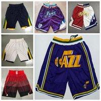 "Utah ""Jazz"" Baloncesto SHORT MENS Just Don College Donovan 45 Mitchell John 12 Stockton 32 Malon Shorts 2021 Edition City Blue Blanco"