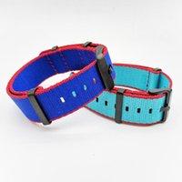 Regardez les bandes de sécurité Nylon de sécurité Nylon Strap NATAN NATAN 20mm 22mm de montre Hommes Sport Military Braceur Accessoires Sky Bleu, Bleu foncé