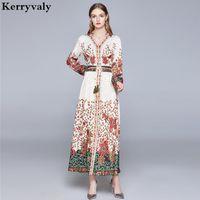 Robe décontractée Australie Luxe Summer Retro Col V-Col Floral Manches Longues Haute Taille Femmes Maxi Robe Vestido Longo Robe Pull K3777