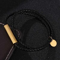 Tennis Simple Jewelry Black Leather Handmade Bracelet For Women Men Stainless Steel Magnetic Buckle Bracelets Bangles SP0689