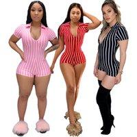 النساء 2021-Stripe Deep V مثير بأكمام قصيرة ضيقة بذلة السراويل bodycon حللا أمبير السروال القصير ارتداءها الخامس الرقبة الزملاء وزرة المرأة