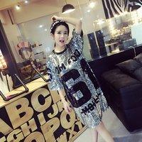 61# Sexy Nightclub Mid Sleeve Long Top Fashion Loose Sequin T-shirt Ds Bar Show Dress