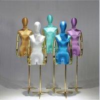 Negozio di abbigliamento Modello Puntelli Mobili Commerciali Femmina Mezza Lunghezza Lunghezza Alta Lunghezza Silk Satin Golden Braccio Abito da sposa Display Rack Show Show Platform