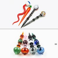 Verre Dabber Tool Stick Stick Stack Tool Tool Casquette pour huile de cire Tobacco Tobacco Tabac Banger Banger Nails Verre Eau Bongs DAB Planches Tuyau Mer BWC7613