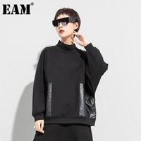 [eam] النساء سميكة الأسود بو الجلود الجيب حجم كبير الحجم تي شيرت الوقوف الياقة طويلة الأكمام الأزياء ربيع الخريف 2021 1DD0234 المرأة