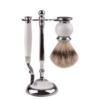 Makeup Brushes 3 In 1 High-end Men's Shaving Set With White Handle Stainless Steel Razor Brush Holder Badger Hair Beard