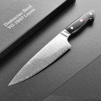 Couteau professionnel Chef Couteau Damascus Steel VG10 Cuisine japonaise Boucherie Gyuto 8 pouces Cousus Couche Couche Tranking G10 Poignée