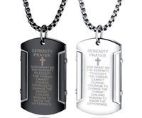 XMAS Gifts for friends Vintage Scripture Army Card Dog Tag Cross Pendant stainless Steel Men's Necklacde Rolo Chain 24 Inch
