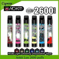 Otantik Aokit Lux Tek Kullanımlık E Sigaralar Pod Cihazı 2600 Kayıp RGB Işık Vape Kalem Sistemi Ile 1350mAh Pil 8.5ml Tercih Edilen Taşınabilir Stick
