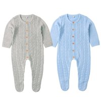 born Baby Footie Clothes Summer Candy Color Knitted Toddler Girls Jumpsuits Long Sleeve Infant Boys Overalls Children Outfit 210417