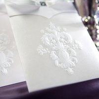 - 50pcs lot white bow elegant wedding invitation cards high quality ZHL4163