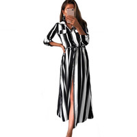 Casual Dresses Office Lady Fashion Vestidos Women Striped Turn-down Collar Long Sleeve Vintage Autumn Spring Belted Shirt Dress
