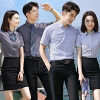 Stripe Short Sleeve Summer Men's and Women's Professional Wear 4s Shop Sales Shirt Embroidery