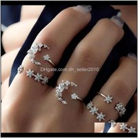 Band Rings Jewelry Drop Delivery 2021 European And American Bohemian 5-Piece Diamond Set Ring Female Retro Wedding Festival Star Moon Crystal