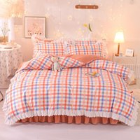 Bedding Sets Home Textile Girl Kids Set Orange Plaid Print Duvet Cover Sheet Pillowcase Woman Adult Beds King Queen Full Size