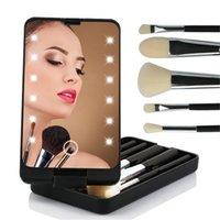 Makyaj Aynası 5 adet ile LED Işık Fırçalar Kılıf Organizatör Katlanır Taşınabilir Dokunmatik Ekran Ledleri Aynalar Fırçalar Saklama Kutusu Seyahat Kozmetik Araçları
