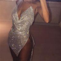 Akyzo Kadınlar Sparkly Rhinestone Halter Metal Zincir Elbise Yeni Gece Kulübü Altın Gümüş Backless Bölünmüş Kalça 2 Parça Set Elbise 210329