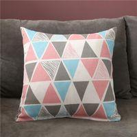 Cushion Decorative Pillow 45X45CM Printing Linen Color Strip Pillowcase Cotton And Hugging Sofa Cushion Cover 30X50CM
