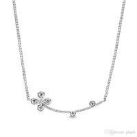 2019 Новое поступление 925 стерлингового серебра цепи клевер ожерелье оригинальная коробка для Pandora четыре-лепесток цветок ожерелье женщины роскошный дизайнер ожерелье