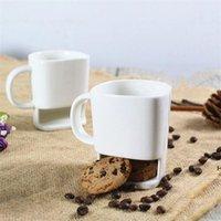 Caneca de cerâmica Branco Café Biscoitos Biscoitos Sobremesa 250ml Copo Copo de Chá Kka3109 Cookie Home Lado Para Pockets Office Chá Suporte HWD6635