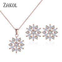 Earrings & Necklace ZAKOL Casual Cubic Zirconia Flower Ring Set For Women Wedding Dinner Holiday Birthday Gift Jewelry FSSP3012