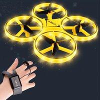 Мини-часы RC Drone Sensing жест Инфракрасная индукция Quadcopter интеллектуальный дистанционный контроль светодиодный UFO вертолет Dron Детские игрушки 210325