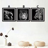 未婚のミニマリスト絵画動物ライオンヘッド壁アートポスター