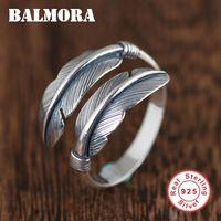 100% 925 Стерлинговые серебряные перья со стрелками для женщин-девочки Винтаж открытый регулируемый заявление ювелирных изделий подарочные кольца